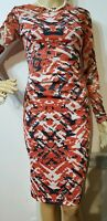 KAREN MILLEN RUCHED PATTERNED DRESS SIZE UK 8 US 4 ORANGE CREAM BLACK 71% ACETAT
