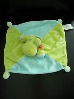 A14- DOUDOU PLAT KIABI CROCODILE vert bleu foulard orange - EXCELLENT  ETAT