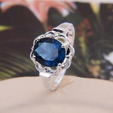 925 Sterling Silver&18K Gold Sapphire Flower Ring Band Valentine's Party Jewelry
