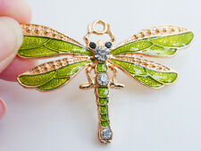 1 x Large Enamel Dragonfly Charm in Green with Rhinestones 72mm Pendants Charms