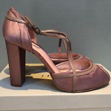 JIGSAW Taupe Mirlo Satin High Heel Ankle Strap Peep-Toe Shoes. UK 8