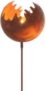 Feuerkugel ø19 Windlicht Gartenstecker Feuerball Fackel Metall Edelrost Rost