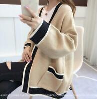 Women's Chic Loose Knit Cardigan Korean V-Neck Sweater Coat Lazy Pocket Tops