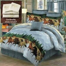Western Running Galloping Horses By The Water Blue Comforter Bed In A Bag Set Q