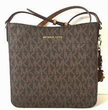 NWT Michael Kors Jet Set Travel Large Messenger Shoulder Bag PVC Brown / Acorn