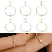 Women Adjustable Chain Bracelet Rhinestone Crystal Fashion Fashion Bangle C R8Z3
