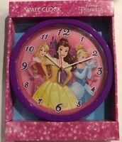 Disney Princess Wall Clock Cinderella Belle Sleeping Beauty Purple New Unopened