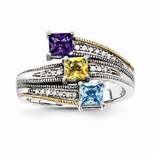 Sterling Silver & 14k Genuine Diamond & Cr. Gemstone Customizable Mother's Ring