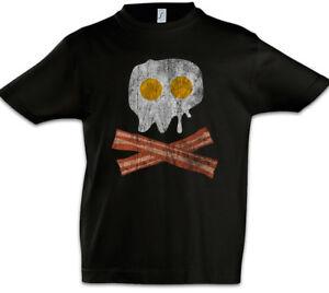 Bacon & Egg Skull Boys T-Shirt Fried Egg Fun Geek Nerd Pirate Bones Addicted