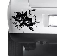 3x HIBISCUS Floral Decorative Car Bumper  Window Wall Laptop VINYL DECAL STICKER