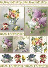 Papier de découpage Théière tasses fleurs fruits - Tea Flowers DFG372 Serviette