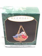 Welcome Friends`1997`Miniature-Li ttle Red And Blue Bird-Hallmark Ornament->New