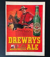 1948 Drewrys Ale Advertisement Beer Canadian Mountie Horse Art Vtg Print Ad