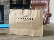 "COACH Designer Brown Paper Bag 16"" x 9"" x 6"" Retail Shopping Handbag Authentic"