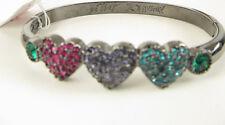 Betsey Johnson GIFTING Hematite Tone Pavé Heart Bangle Bracelet NEW