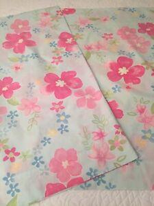 Pottery Barn Kids Pink Hibiscus Floral/Blue Background Standard P/case Set (2)