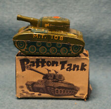 Original Vintage Japan Friction Patton Tank M.T. 108 Toy Tin w/Box