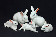 Miniature Ceramic Family rabbit (5 pcs)Figurine for Decorative Collectibles