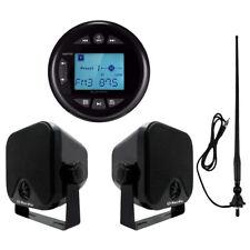 "Marine UTV Radio Bluetooth Stereo Receiver+4"" Heavy Duty Speakers+FM AM Aerial"