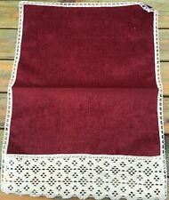 Plain Wine Chenille With Lace Edge Chair Backs and Arm Caps