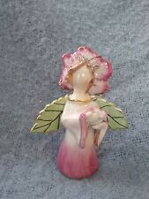 New! Blue Sky Clayworks Heather Goldminc Pink Flower Chime Angel 2002