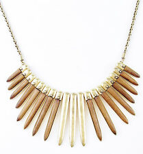 "LUCKY BRAND Wood Inlay Spike Hammered Gold-Tone Frontal 18"" Necklace $69"