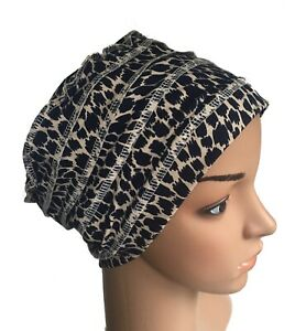 HEADWEAR FOR HAIR LOSS, LAYERED SOFT STRETCH COTTON HAT CANCER CHEMO ALOPECIA
