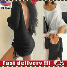 Womens Sexy Backless Knitted Drawstring Sweater Dress Ladies Long Tops Blouse