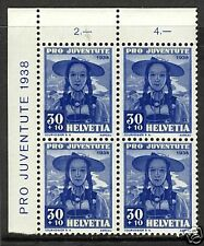 Switzerland  1938  Scott # B94  MNH Plate Block