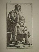 Gravure XVII° STATUE SENECAE HOMME MYTHOLOGIE ITALIE 1780 SCULPTURE GAY DRAPE