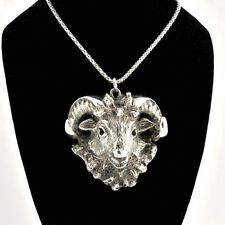 Stunning 1990s Handcrafted 925 Sterling Zodiac Sign Face of Aries/ Ram Pendant.