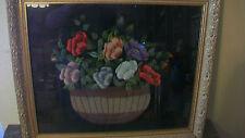 VINTAGE 1950's EMBROIDERED FLOWERS IN BASKET ON BLACK SILK CLOTH FRAMED