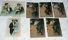 1940's  Romantic  Postcards  (7)  3 Of  The  Book  Of  Love  &  4  Up  A  Ladder