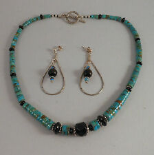 "*MADE IN USA*  TURQUOISE AND ONYX 19"" NECKLACE WITH POST DANGLE EARRINGS"