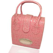 Borsa beauty portagioie da trasporto 10x11 in pelle rosa con borchia ovale