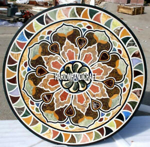 Multi Traditional Art Marble Dining Top Table Inlaid Rare Patio Decor Work H4043