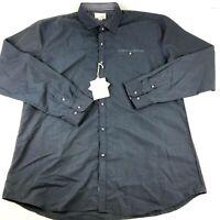 Craft+Flow Button Up Shirt Adult 2XL Blue Long Sleeve Mens NWT