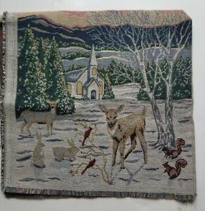 Christmas tapestry pillow cover little boy girl wildlife scene tree deer church