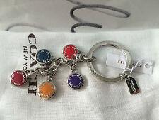 Coach Keychain Logo Multi-Color Button Mix Keychain Silver Key Fob F63982 NWT