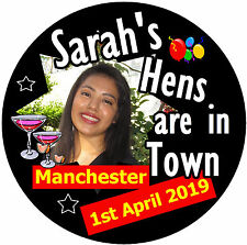 PERSONALISED BADGE 5 X HEN PARTY BADGES - NEW // GIFT NAMES PHOTO STARRING