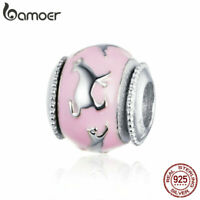 BAMOER S925 Sterling silver Charms Cat shadow & CZ Fit Women Bracelet Jewelry