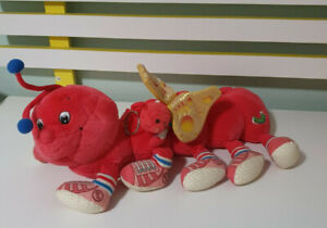 LOTS A LOTS A LEGGGGGGS CATERPILLLAR 80S TOY RED STUFFED ANIMAL 38CM BABY