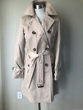 Dana Buchman Beige Double-Breasted Trench Coat NEW SIZE S