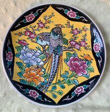 Beautiful Antique Japanese Enamel Porcelain Noir Plate w/Birds, Peonies