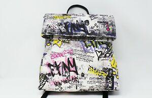 DKNY Tilly Graffiti Printed Medium Foldover Ladies Backpack Black Multi RRP £121