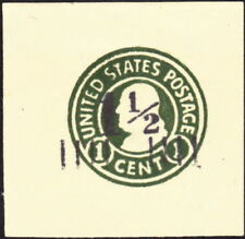 US  1925 - 1 1/2 Cents on 1 Cent Green Die 3 Amber Surcharged Cut Square #U496a