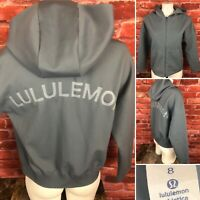Lululemon Spellout Full Zip Hooded Soft Shell Jacket Woman's Size 8 Gray —358