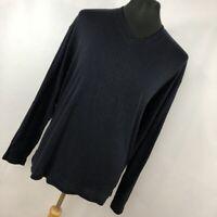 Jhane Barnes XXL Sweater Lightweight V Neck Ribbed Navy Blue Mens Long Sleeve V7