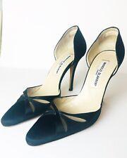 MANOLO BLAHNIK Womens Ladies Black Toe Silk Pump Stiletto Heel Leather Size 35.5