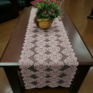 Pink Lace Table Runner Cover Mats Wedding Party Dining Room Decor Heart 36x183cm